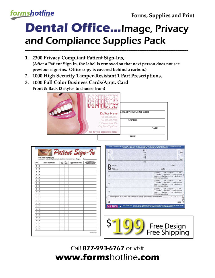 Dental Office...Image, Privacy and Compliance Supplies